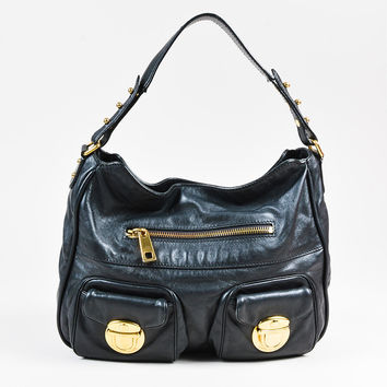 "Marc Jacobs Black & Gold Tone Leather ""Cammie"" Shoulder Bag"