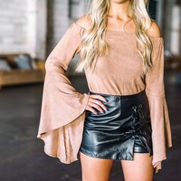 Leather Lace Up Skort- Black - These Three Boutique