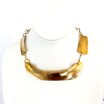 Gold hammered choker, brass statement necklace, modern metal jewelry