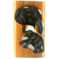 "Handmade Teak  Wood Carving Elephant With Baby Wall Hanging Art Decor Wooden Elephant Wood Carved / Gift 11.75""X 7"""