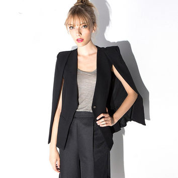 BlackSingle Button Shawl Cape Slim Coat