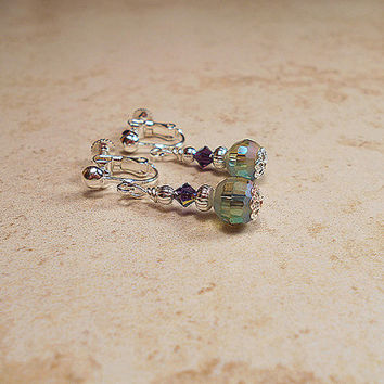 Purple Blue Green Dangle Screw Back Earrings Silver Plated Clip Made with AB Beads and Swarovski Crystals Retro Style Womens Gift Bling Glam