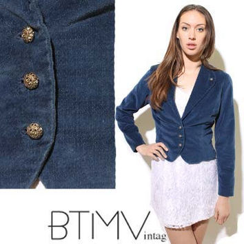 70s BLUE VELVET cropped blazer jacket fitted peach by BTMVintage