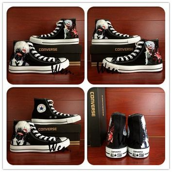Men Converse All Star Hand Painted Kaneki Tokyo Ghoul Design Black Canvas Sneaker