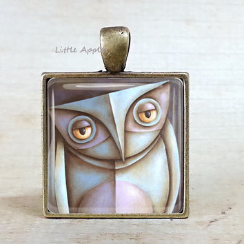Pastel owl painting necklace or keychain, bronze , grey white owl, abstract, bird, wearable art, birthday gift