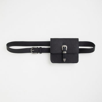 Black Faux Leather Western Belt Bag