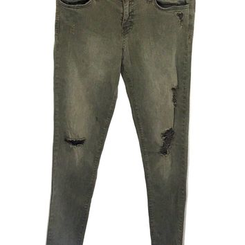 Flying Monkey Jeans Low Rise Skinny Leg Distressed Olive Wash Women's Size 29 - Preowned