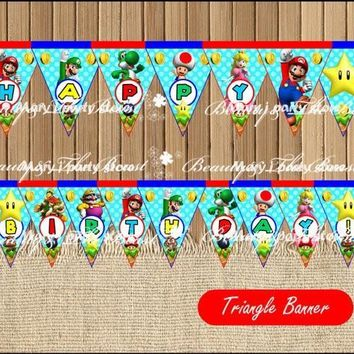 Super Mario party nes switch  Bros Banner Baby Shower Birthday Party Decorations Kids  Event Party Supplies Party Printable Candy Bar AT_80_8