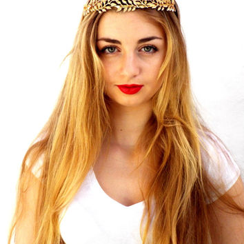 Gold leaf Crown, Bridal Tiara, Wedding Headpiece,  Greek Goddess, Flower crown, Golden Hair Wreath