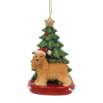 Holiday Ornaments DOG W/CHRISTMAS TREE Pet Puppy Best Friend C7615 Cocker Blonde