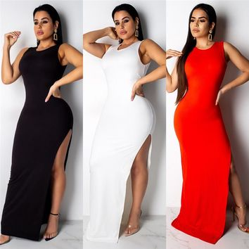 Women Summer Backless Dresses Solid Color One Button Sleeveless Clothing Crew Neck Hi Lo Casual Apparel