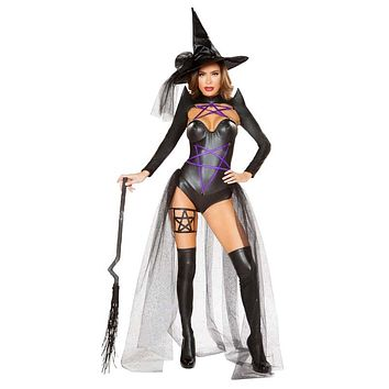 Sexy Dark Witch Latex and Mesh Netting Pentagram Halloween Costume