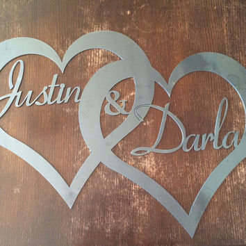 Custom Raw Metal Names in Hearts by PrecisionCut on Etsy
