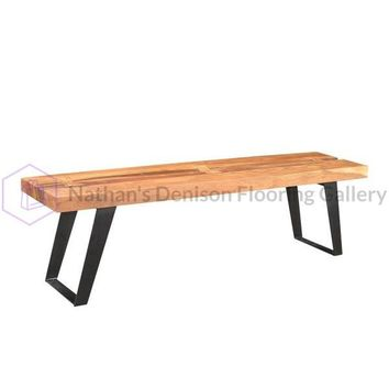 Solid Acacia Wood Bench with Iron Legs | GFURN