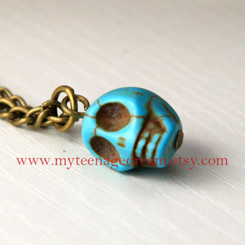 blue Turquoise skull necklace  Day Of The Dead by MyTeenageDream