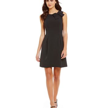 Jessica Howard Bow Neck Pleated Sleeveless Sheath Dress | Dillards