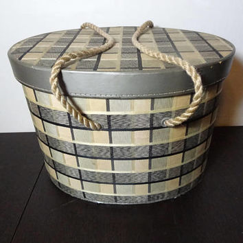 Vintage Oval Black, Beige, and Grey Plaid Fabric Covered Sewing Box with Rope Handles - Includes Sewing Notions - Mid Century Modern