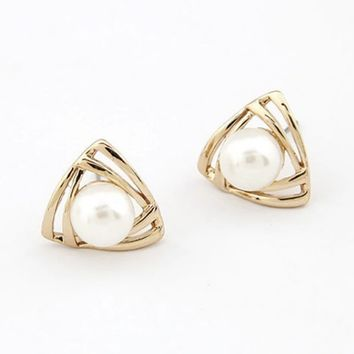 Elegant Triangle Shaped Pearl Stud Earring
