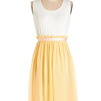 Kling Pastel Mid-length Sleeveless A-line Happy to Have You Dress