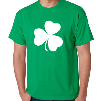 Men's T Shirt White Shamrock Graphic St Patrick's Day Party Tee