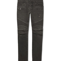 Balmain - Slim-Fit Distressed Washed-Denim Biker Jeans | MR PORTER