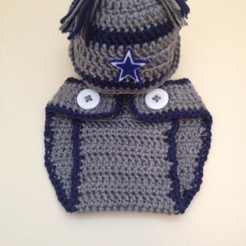 a06892a8c81d Dallas Cowboys inspired football hat with matching diaper cover- Newborn