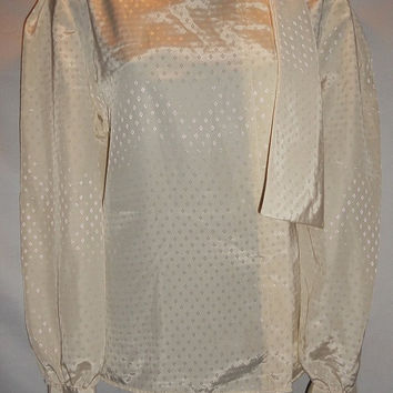 Vintage 80s Cream Geometric Diamond Print Secretary Long Sleeve Polyester Blouse Anne Klein Size 10