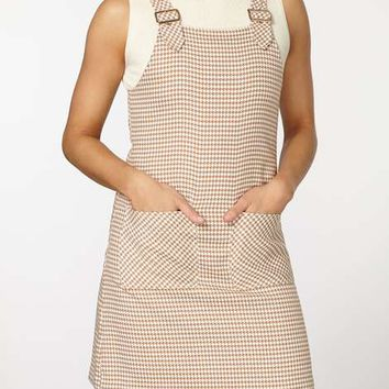 Stone Dogstooth Pinny Dress - New In