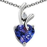 Star K Heart Shaped 8mm Simulated Tanzanite Pendant Sterling Silver