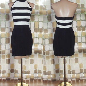 Vintage 90s Dress | 1990s TADASHI Dress | Black & White Striped Party Dress | Halter Neck | Mini Dress