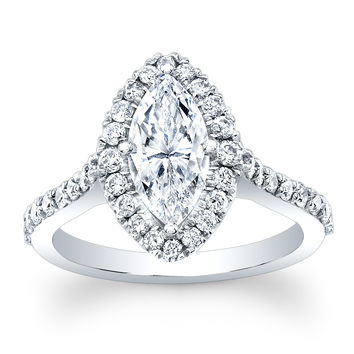 Ladies 14kt white gold antique pave diamond engagement ring 0.70 ctw G-VS2 diamonds with 1.50ct Marquise White Sapphire center