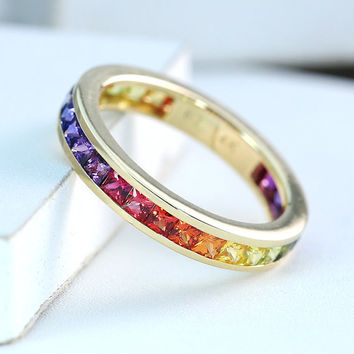 Mens Rainbow Engagement Ring Wedding Band 14K Yellow Gold, Unisex Unique Natural Rainbow Sapphire New York 2.5 CT Ring R2045-14K-Yg