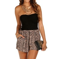 Sale-black Lattice Back Romper