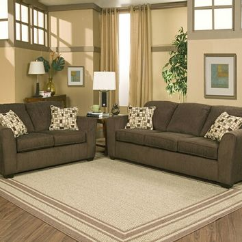 A.M.B. Furniture & Design :: Living room furniture :: Sofas and Sets :: Sofa Sets :: 2 pc Edge hershey colored fabric upholstery sofa and love seat set