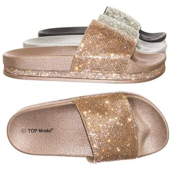Hiram1 Rhinestone Slide In PVC Molded Footbed Flatform Sandal Slippers