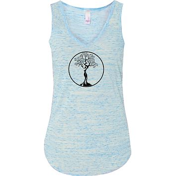 Yoga Clothing For You Black Tree of Life Circle Lightweight Flowy Yoga Tank Top