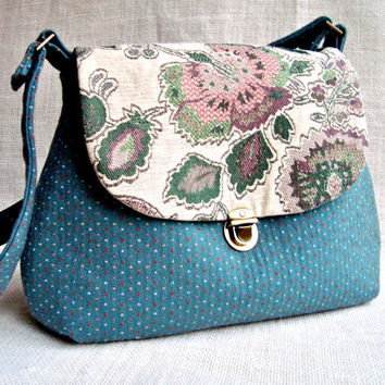 Floral Teal Crossbody Bag- Victorian Fabric Handbag - Handmade Bag Purse