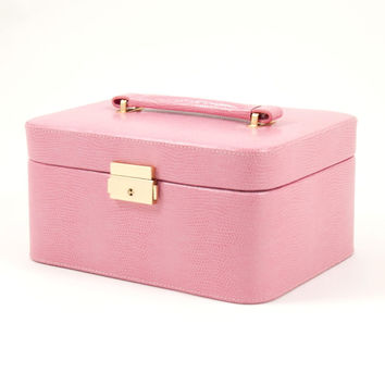 """Pink """"Lizard"""" Leather Jewelry Box for 3 Watches"""