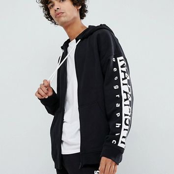 Napapijri Badstow Zip-Thru Hoodie In Black at asos.com