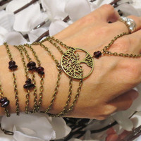 Moving Sale Tree of Life Hand Chain, Slave Bracelet, Garnet, Ring Bracelet, Bronze, Boho, Gypsy, Hippie, Bracelet, Custom, Sized, Adjustabl