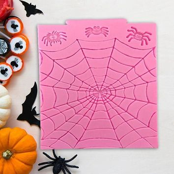 Halloween Series Pumpkin Spider Web Ghost Bat Shape Silicone Cake Decorating Mold Chocolate Mold Pastry Tool Gumpaste Mold