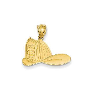 14k Yellow Gold Large Fire Dept. Hat Pendant