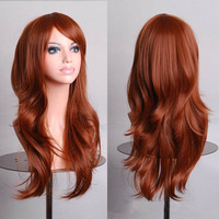 Hatsune miku wig Wine Red Long Curly synthetic party cos wigs 70cm Cosplay Wigs Perruque peruca femininas