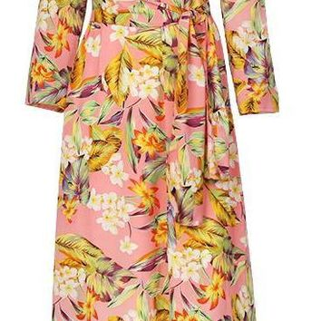Fashion Floral Print Maxi Dress Women 3-4 Sleeve Female A-line Dress Sweet Drawstring O-neck Casual Dress