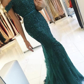Emerald Green Long Lace Mermaid Evening Dresses Party Beautiful Women Formal Evening Gowns Dresses Wear robe de soiree longue
