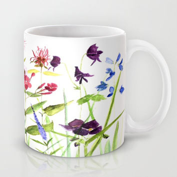 Contemporary Colorful Flower Wildflower Watercolor Illustration Mug by Between The Weeds-Laurie Rohner Studio