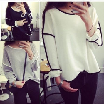 New Trends All-match Sweatshirt Design Loose And Long Sleeve Winter Sweatshirt Women Hoody 3 Colors = 1828300868