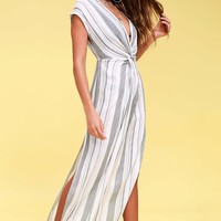 Coastal Grooves White Multi Striped Swim Cover-Up