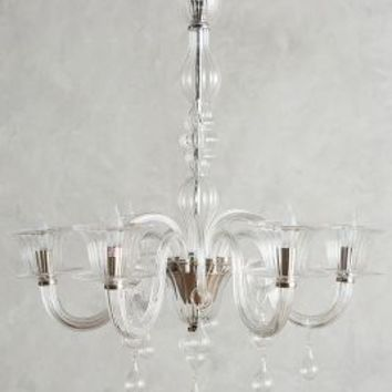 Glass Calixta Chandelier, Upward by Anthropologie in Clear Size: One Size Lighting