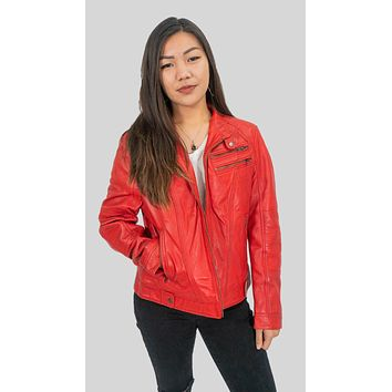 Ladies Elektra Washed Leather Jacket Spring Red